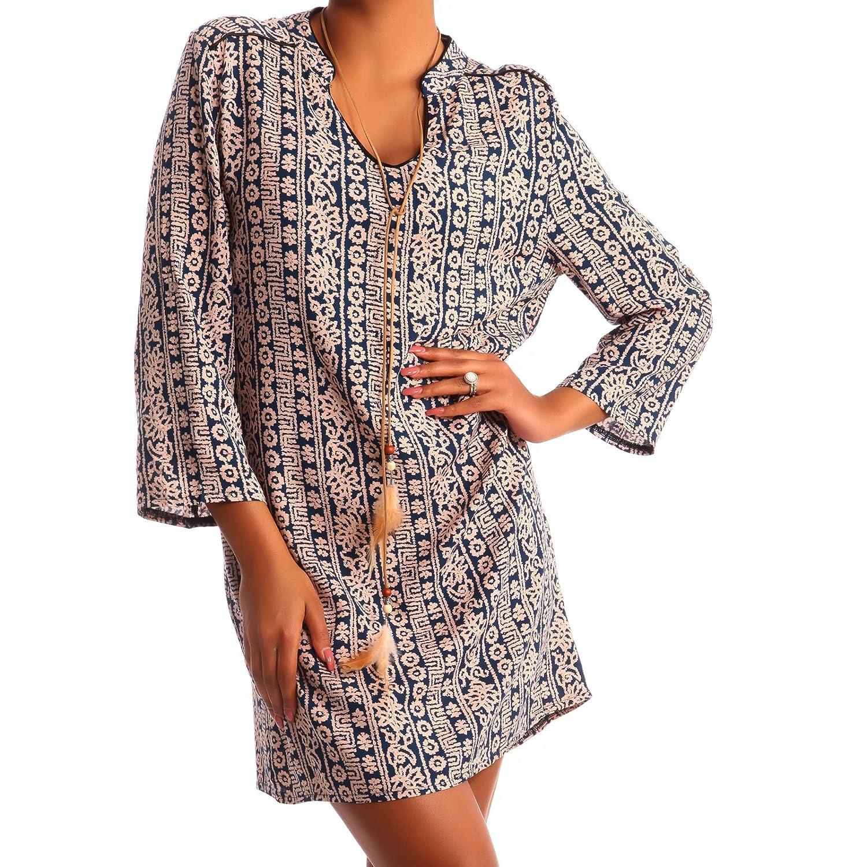 Damen Hippie Minikleid Oversize Tunika Long-Shirt V-Ausschnitt Strandtunika