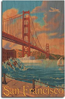 product image for Lantern Press San Francisco, California - Golden Gate Bridge (10x15 Wood Wall Sign, Wall Decor Ready to Hang)