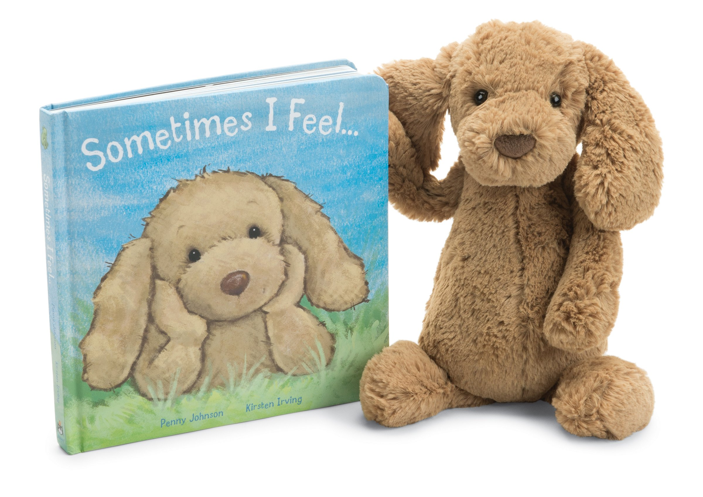Jellycat Sometimes I Feel Board Book and Bashful Toffee Puppy, Medium - 12 inches
