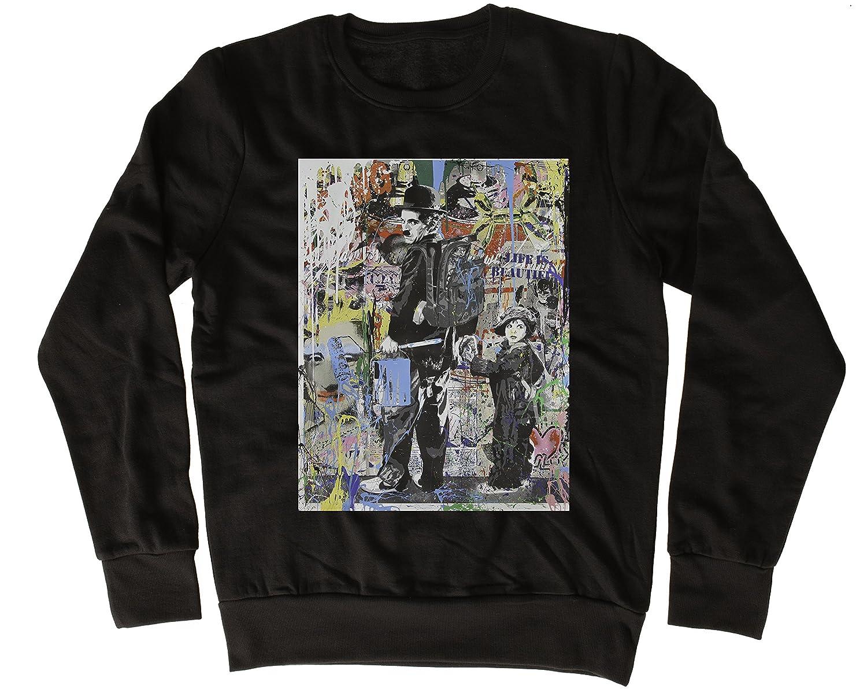 Uk print king Charlie Chaplin Graffiti Poster Fresca, Regalo, Diseñada, Sudadera Unisex: Amazon.es: Ropa y accesorios
