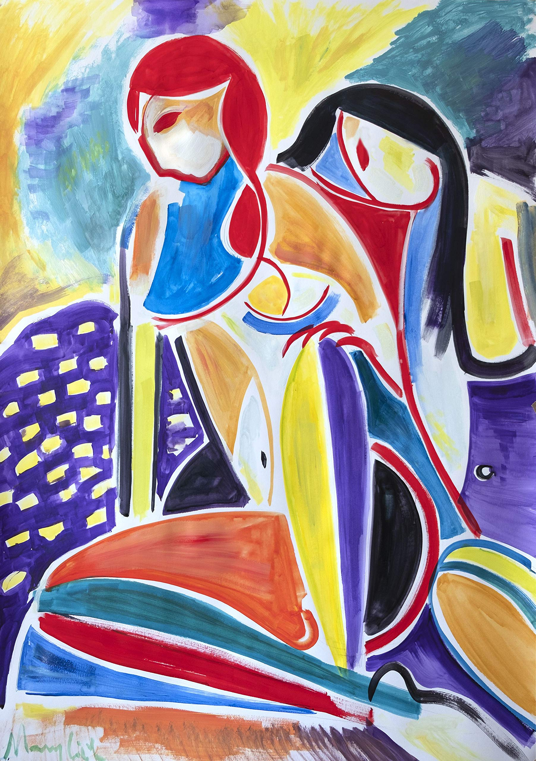 Two girls modern expressive painting colorful by