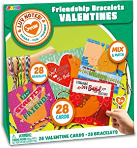 JOYIN 28 Pack Valentines Day Gifts Cards for Kids with Color Friendship Bracelets, Valentine Classroom Exchange Cards, Valentine's Greeting Cards and Valentines Party Favors
