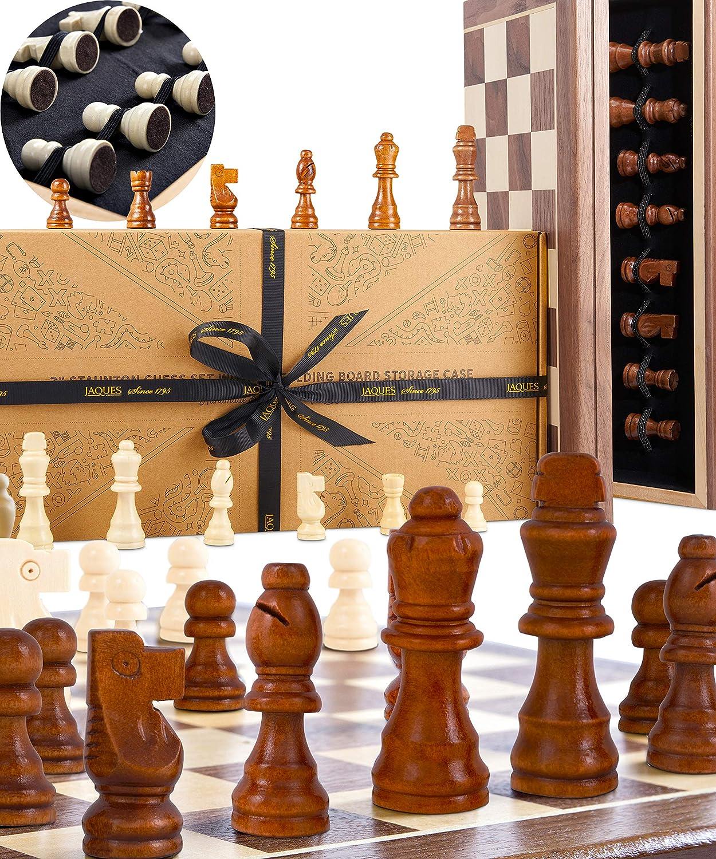 Juego de ajedrez Jaques - Conjunto de ajedrez Jaques Genuino Tallado a Mano con Tablero de ajedrez Plegable y Estuche: Amazon.es: Juguetes y juegos