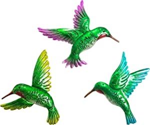 Asunny Hummingbird Wall Art Décor 9inch Large 3Pack Metal Hand-made Wall Decoration Outdoor Indoor Ornament for Kitchen Living Room Bedroom Patio Balcony Counyard, Green Unique Memorial Gifts for Mom
