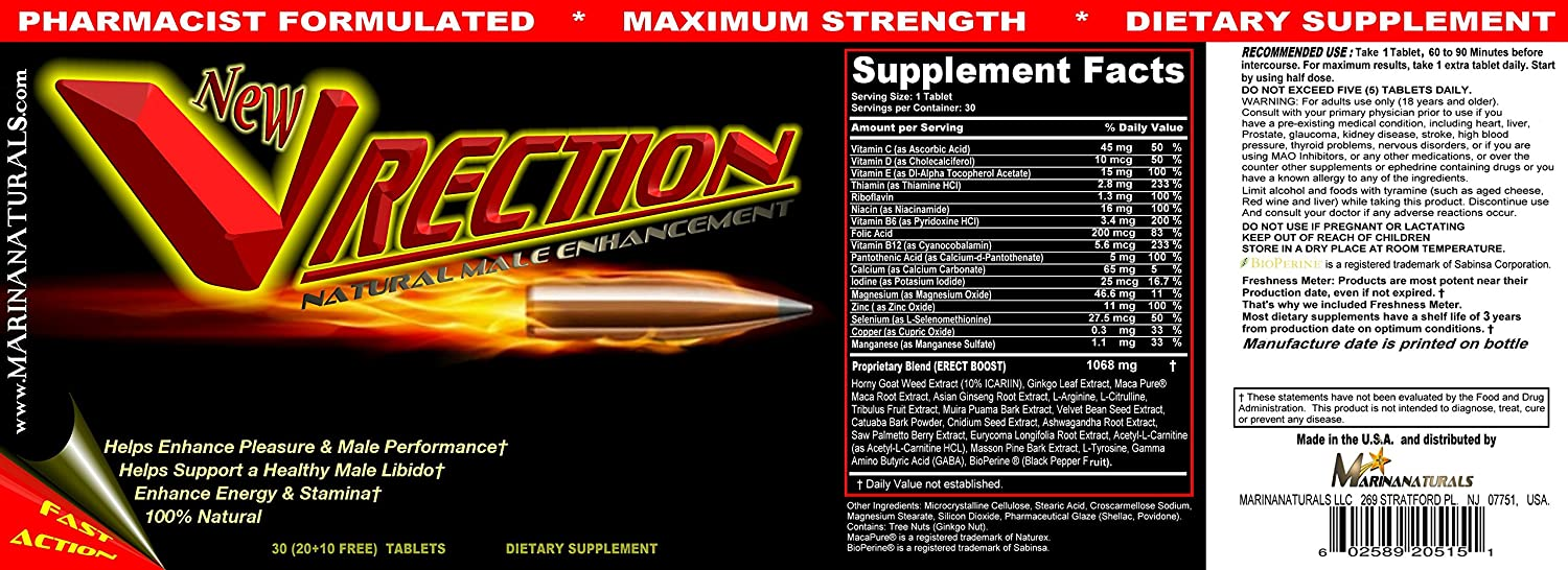Amazon.com: VRECTION Natural Male Enhancement Supplement, 20 Tablets(3 BOTTLES) by MARINANATURALS: Health & Personal Care