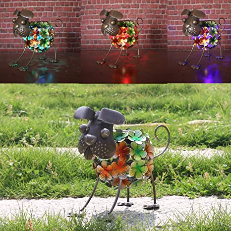 W-DIAN Solar Light Dog Garden Decor,Metal Rusty Dog,Outdoor Solar Powered