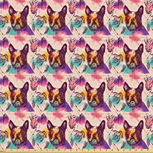Ambesonne Dog Lover Fabric by The Yard, Colorful Crystals Pattern Triangles Sixties Inspired Psychedelic Boston Terrier, Stretch Knit Fabric for Clothing Sewing and Arts Crafts, 1 Yard, Multicolor