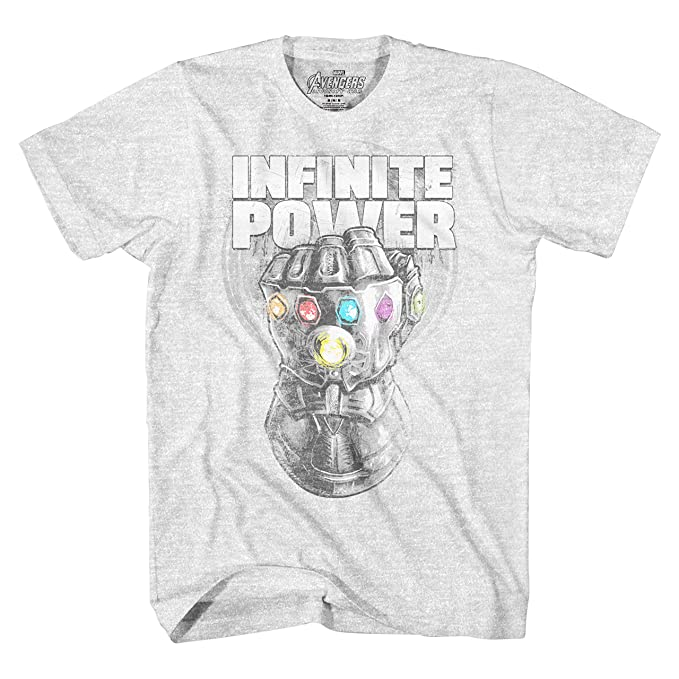 9fbde9a712dbe Amazon.com  Marvel Avengers Infinity War Thanos Infinite Power Sketch Gauntlet  Mens Graphic T-Shirt  Clothing