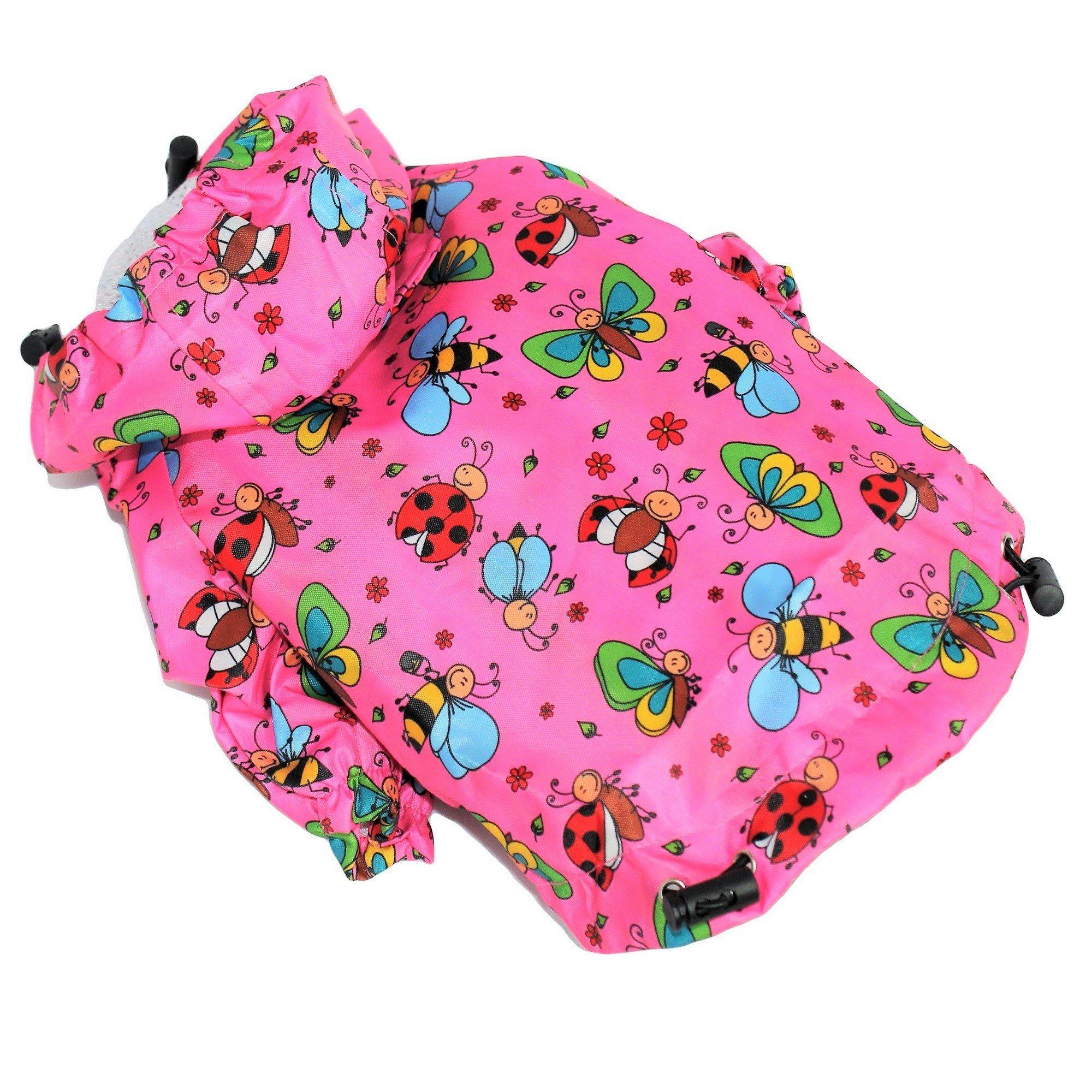 FunnyDogClothes For SMALL Pet Cat Dog RainCoat Hoodie Coat WATERPROOF Rain Jacket Rainwear (XXS: Length - 8'', PINK)