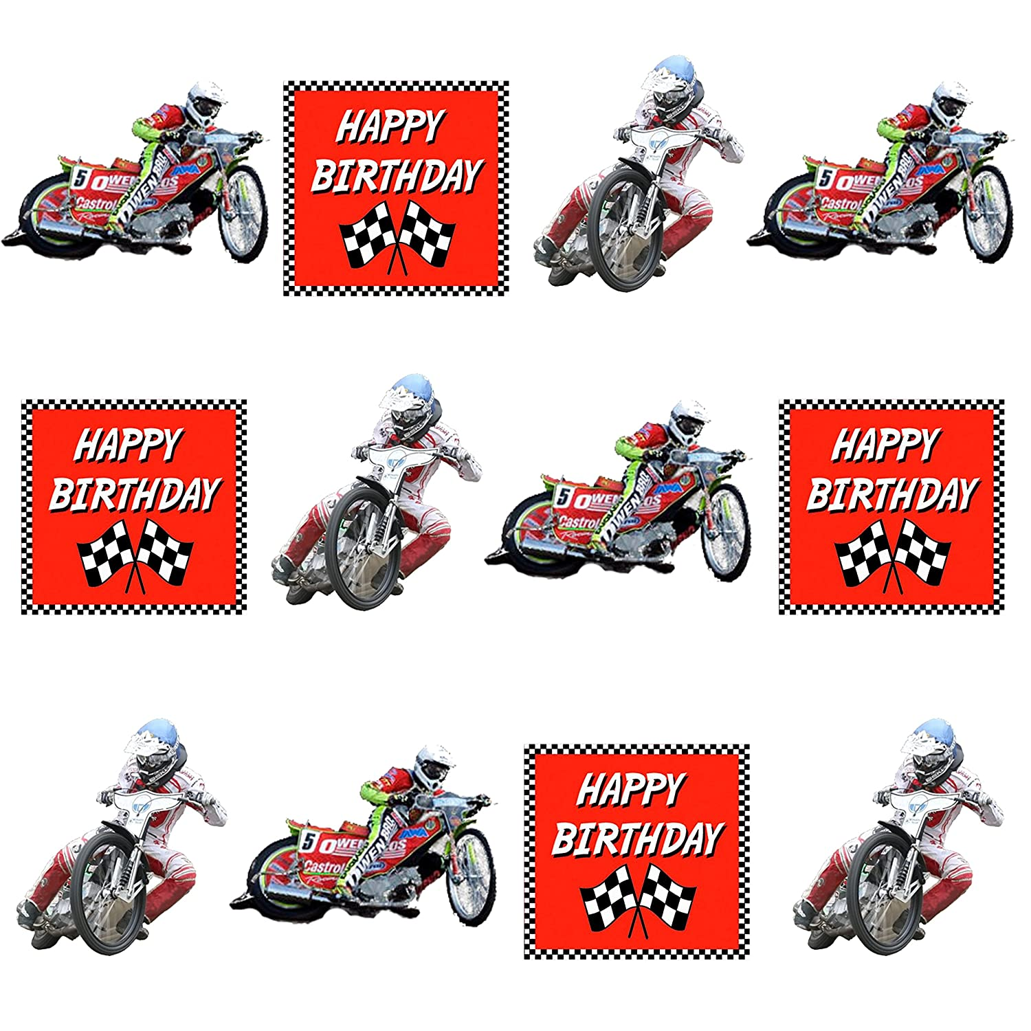 Speedway Happy birthday Cake Decorations - 12 Edible Wafer Cup Cake ...