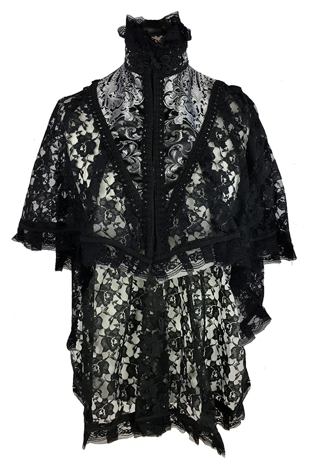 Victorian Blouses, Tops, Shirts, Sweaters DangerousFX Burleska Black Lace Gothic Victorian High Neck Vampire Fishtail Cape Cloak Wrap $48.10 AT vintagedancer.com