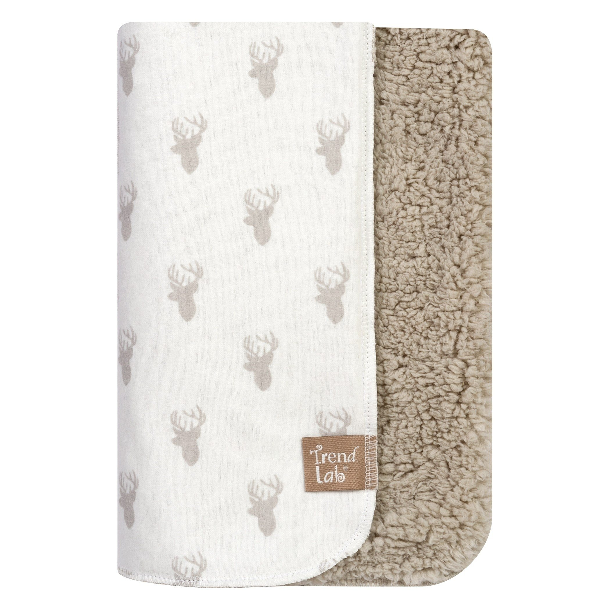 TN 1 Piece Baby Boys White Brown Deer Deluxe Flannel Crib Blanket, Newborn Grey Stag Faux Nursery Bedding, Forest Nature Woods Wildlife Wilderness Animal Cozy Soft Cute Adorable, Cotton