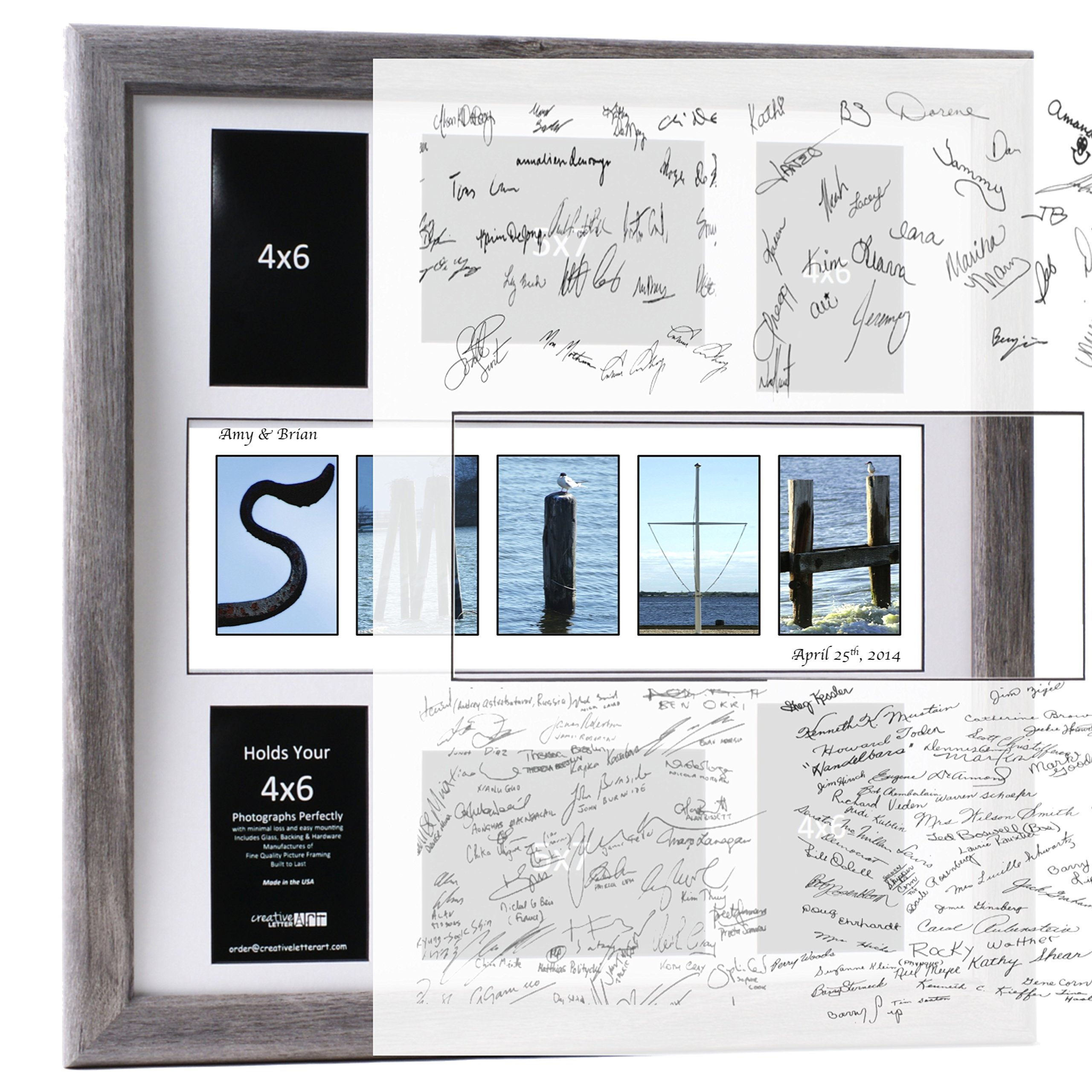 Personalized Wedding Registry - 20 by 20 inch Guest Book w/ Beach, Nautical Related Name Collage including Frame, Six 4 by 6 and 5 by 7 inch opening Collage w/ Signature Board by Creative Letter Art