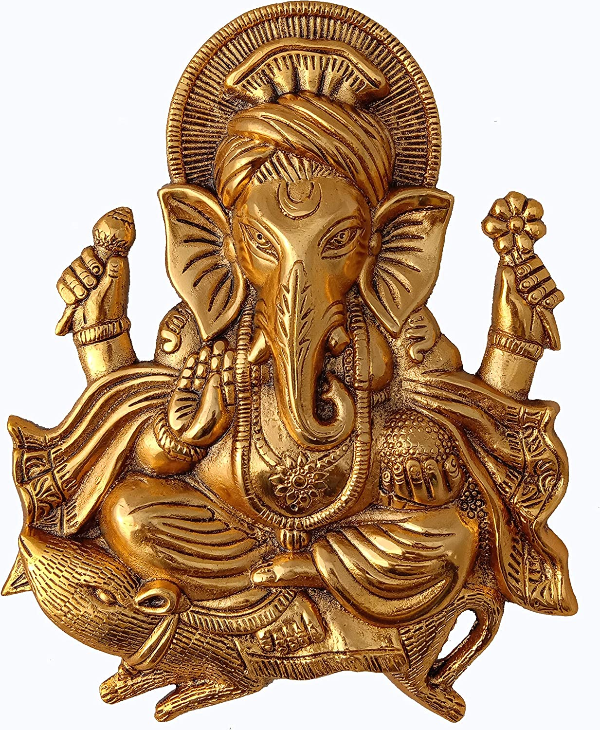 Charmy Crafts Metal Ganesha for Home Decor Wall Decor (Golden, 11 Inches Height)
