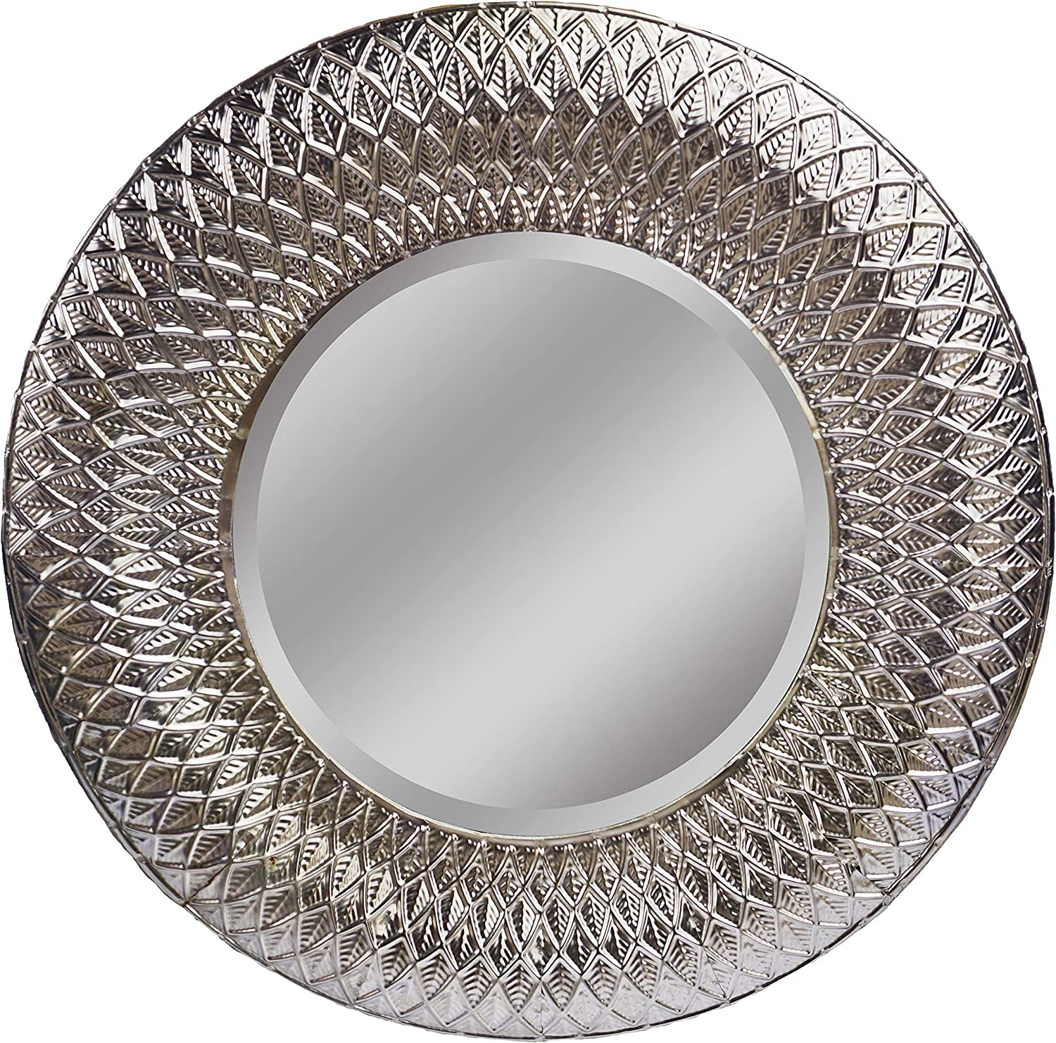 Amazon Com Lulu Decor 19 Gothic Round Silver Metal Beveled Wall Mirror Decorative Mirror For Home Office Gothic 19 Furniture Decor