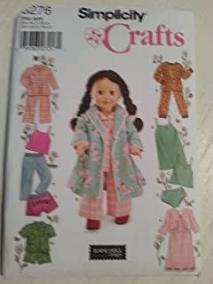 product image for Simplicity Crafts 5276 Baby Doll Pajamas Clothing Sewing Pattern for Girls by Andrea Schewe, Size 18''