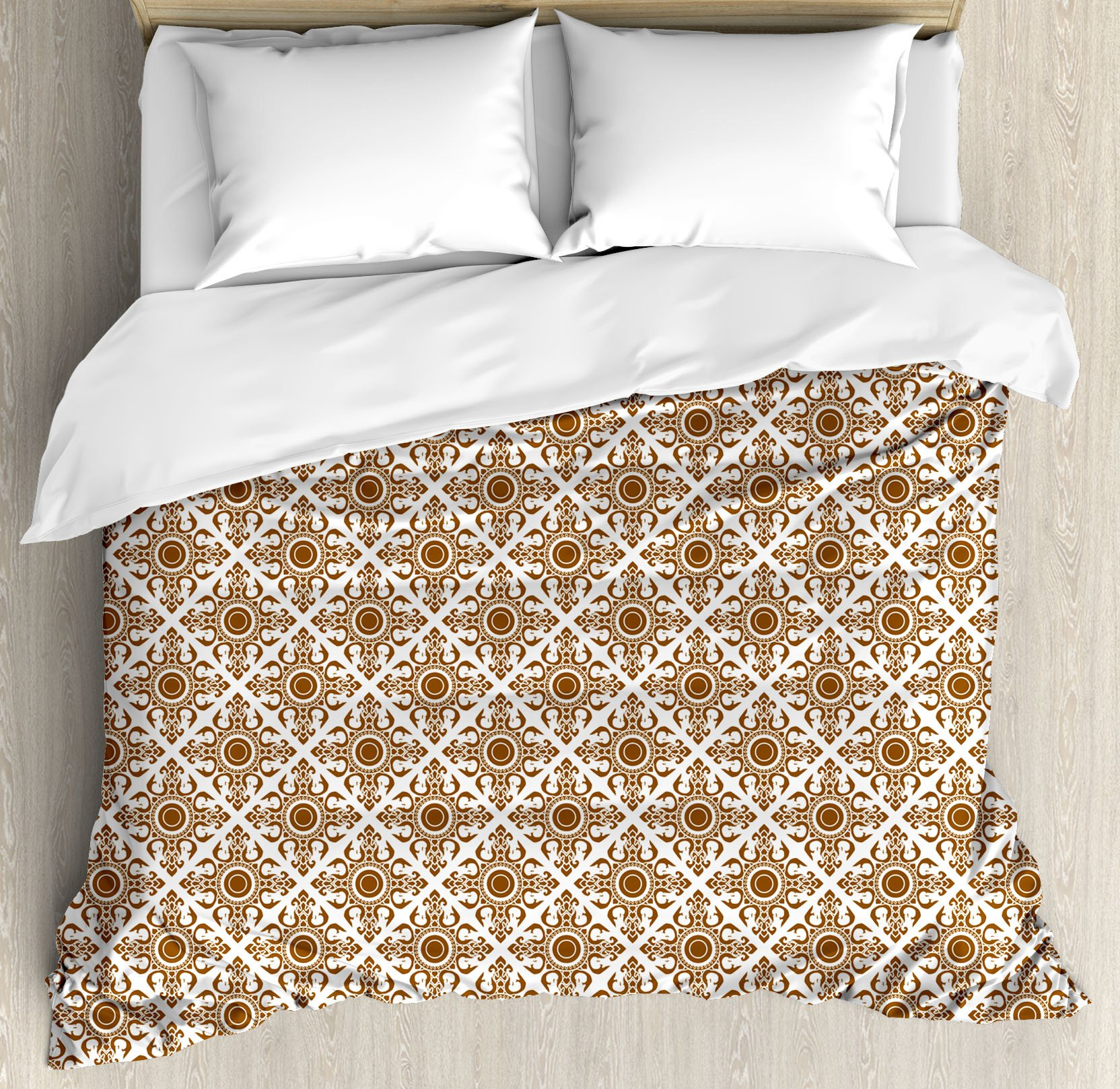 Ethnic Duvet Cover Set by Ambesonne, Thai Mosaic Art Culture Stylized Abstract Lines Dots Pattern Folk Asian Design, 3 Piece Bedding Set with Pillow Shams, Queen / Full, Redwood White by Ambesonne
