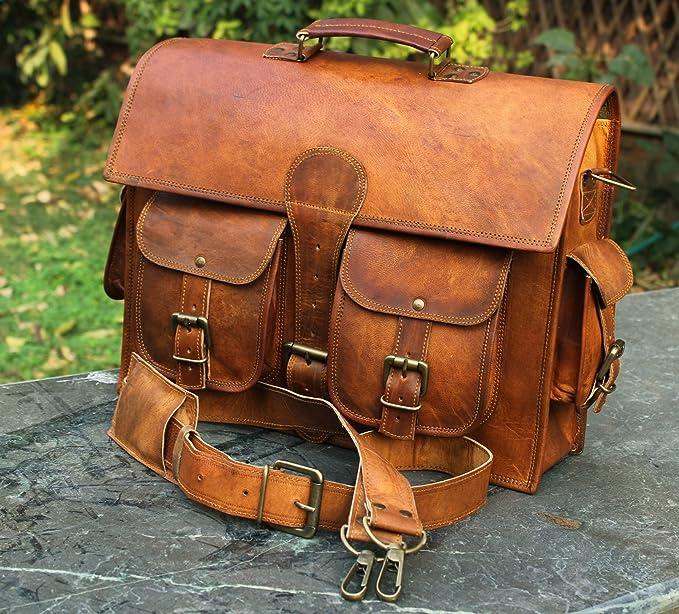 Bolso bandolera de piel y hecho a mano para ordenador portátil, bolso acolchado, mochila escolar (color marrón, 40,6 x 30,4 x 12,7 cm): Amazon.es: ...