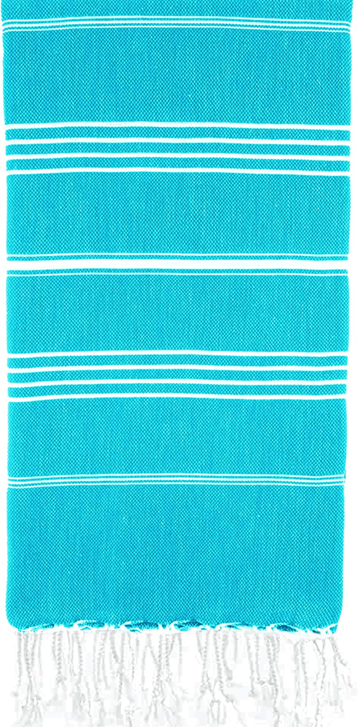 Turkish Beach Towel 37 by 70 Inches Made of 100% Cotton, Ultra Soft and Absorbent, Quick Drying Peshtemal Hammam Towel for Beach, Bath, Yoga, Sauna