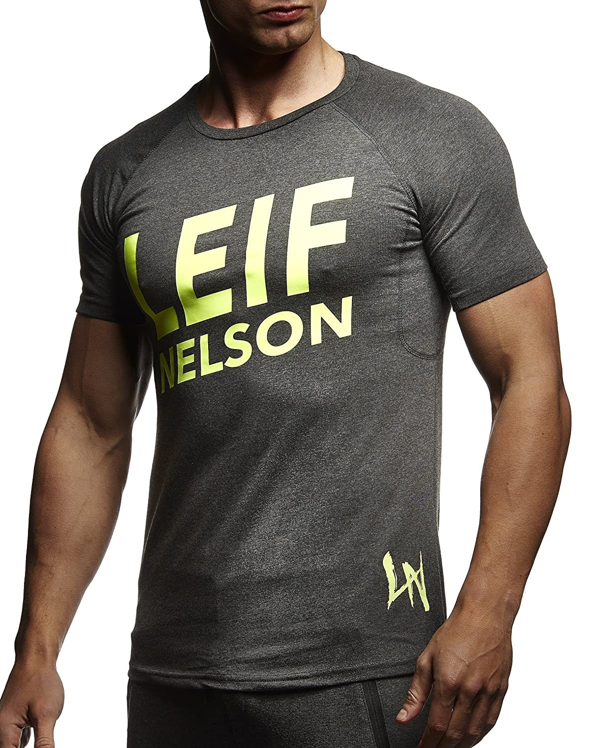 LEIF NELSON Herren T Shirt Tiefer Rundhals Kragen | Kurzarm Shirt Slim Fit | Männer Fitness Shirt | Trainings Shirt Gym
