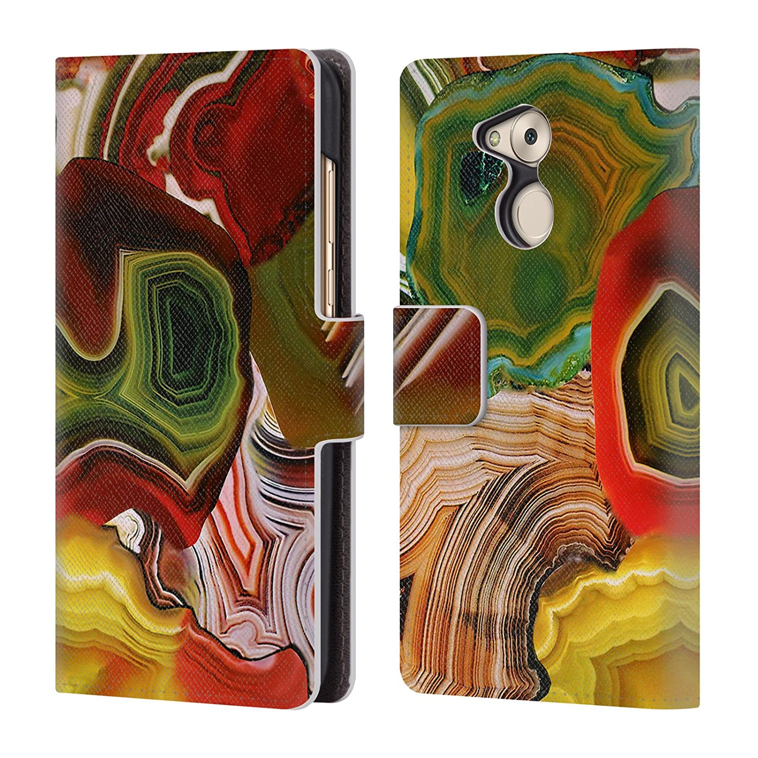 Amazon.com: Official Elena Kulikova Slivers of The Past, Earths Core Agates Leather Book Wallet Case Cover for Huawei Honor 6C Pro / V9 Play: Cell Phones & ...