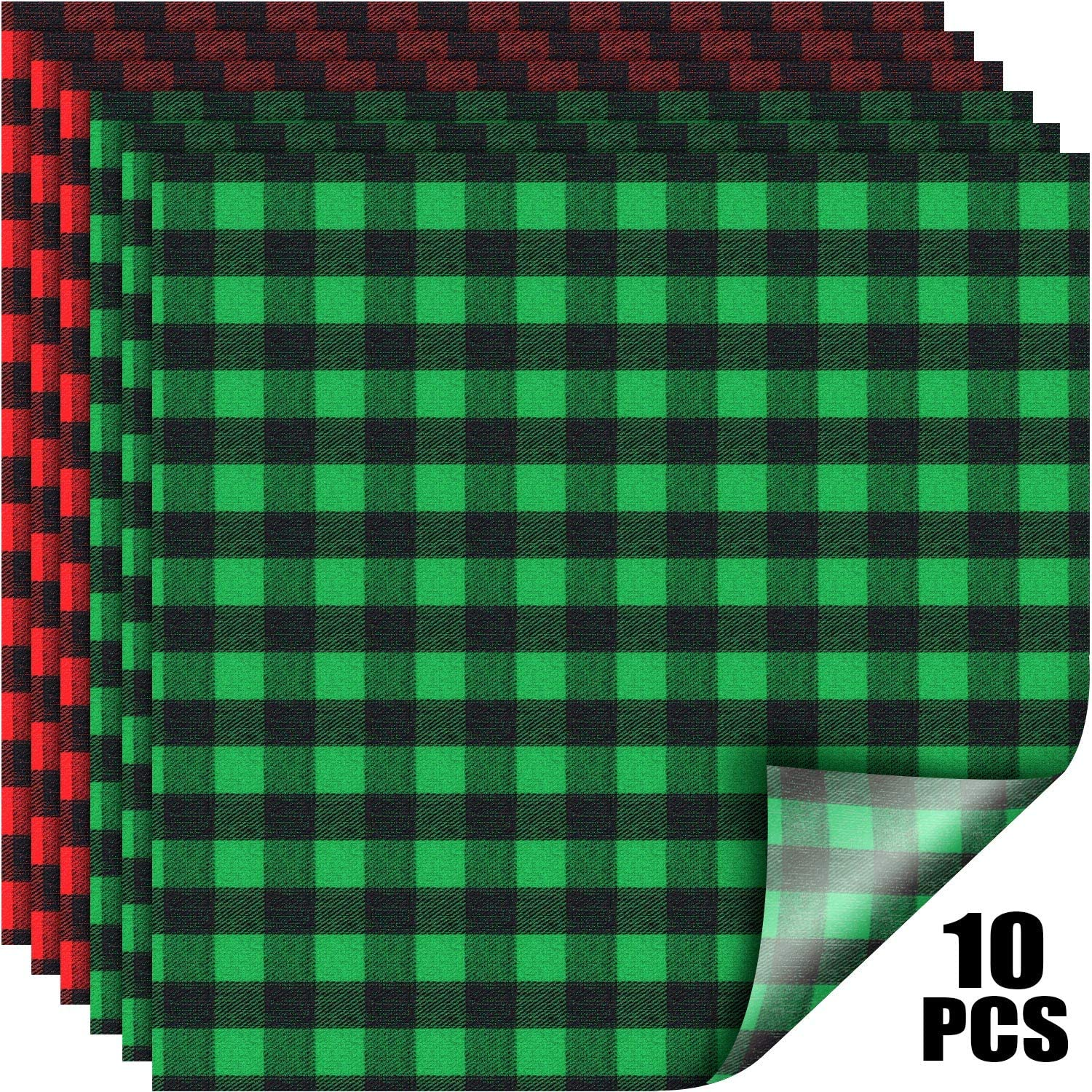 Iron On Transfers Black And White Plaid Buffalo Plaid Vinyl Fabric Check Vinyl Sheets Adhesive Heat Transfer Sheets Iron On Vinyl Clothes Patches For Lumberjack Party 2020 New Year Valentines Day Arts Crafts