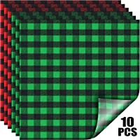 Buffalo Plaid Vinyl Fabric Check Vinyl Sheets Adhesive Heat Transfer Sheets Iron on Vinyl Clothes Patches for Lumberjack Party 2020 New Year Valentine's Day (Red and Black, Green and Black Plaid)