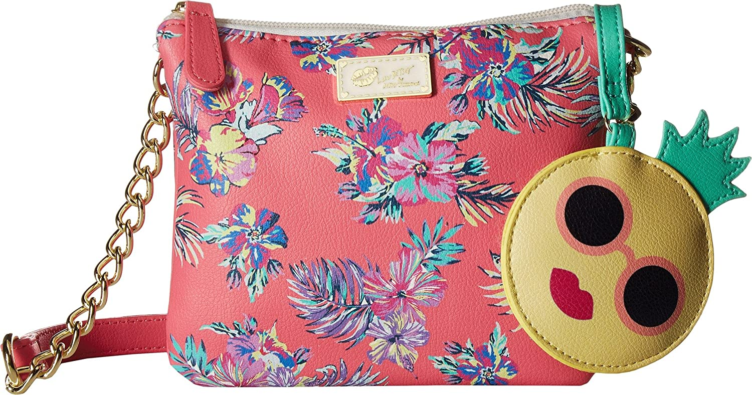 Luv Betsey Womens Double PVC Triple Compartment Crossbody Pink Flower One Size
