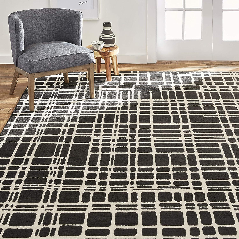 Home Dynamix Premium Noire Contemporary Modern Area Rug 5 2 X7 4 Geometric Black Ivory Furniture Decor