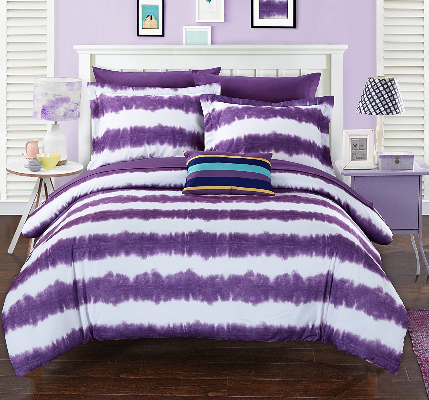 Chic Home 7 Piece Benjamin Striped hand dipped Shibori Tie-Dye printed Twin X-Long Bed In a Bag Comforter Set