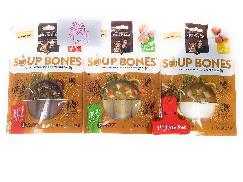 Rachael Ray Nutrish Soup Bones 3 Flavor Dog Treats Variety Bundle 1 Real Beef Barley, 1 Chicken Vegies, 1 Real Turkey