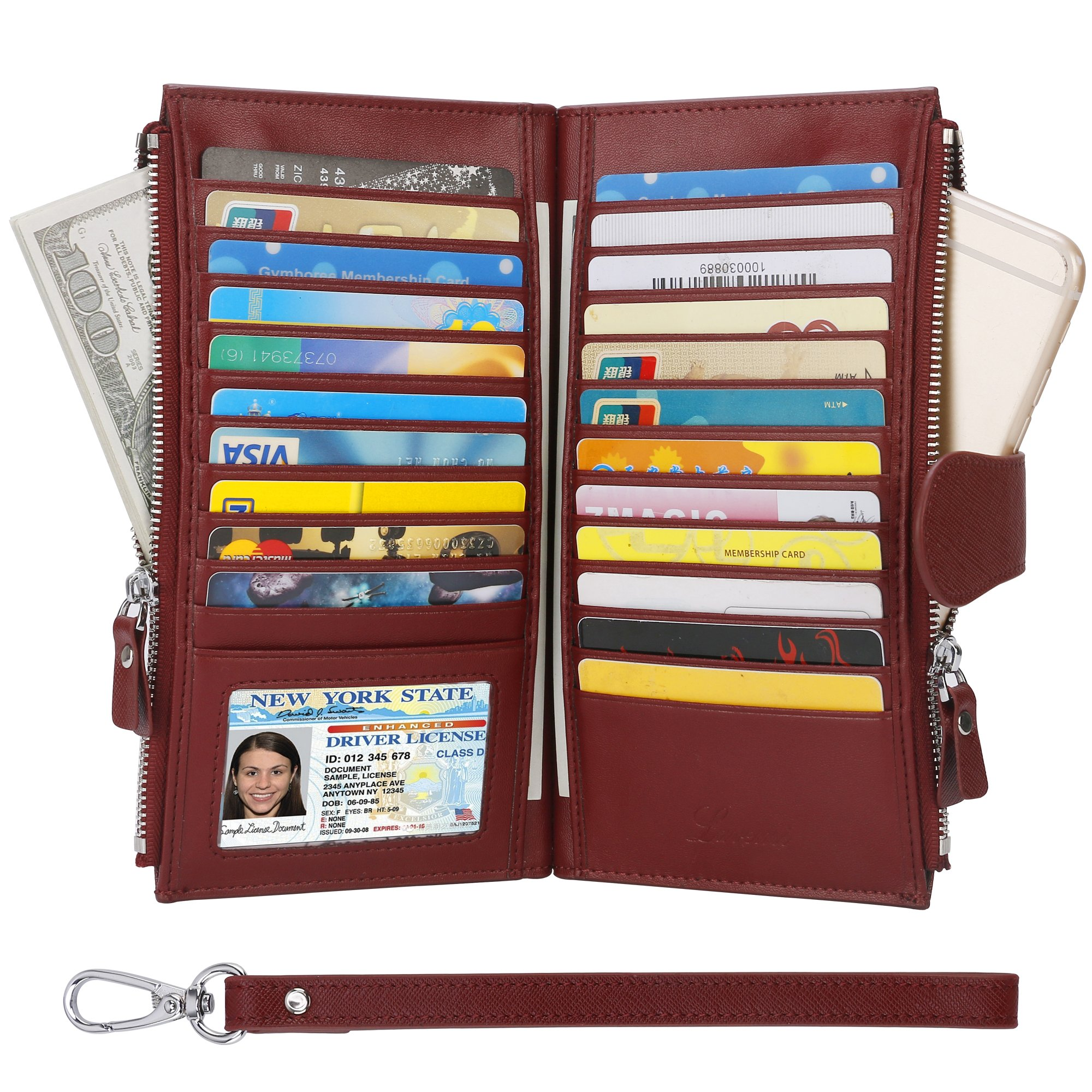 Wallets for Women,Womens RFID Blocking Genuine Leather Bifold Multi Card Case Wallet with Zipper Pockets(Wine Red)