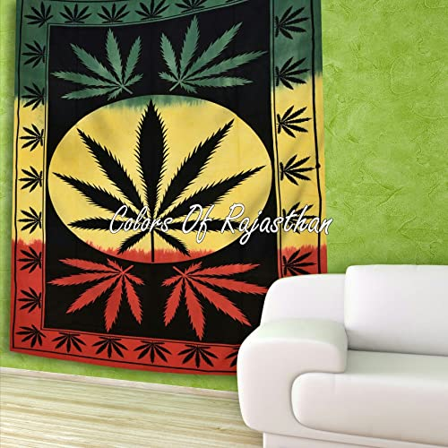 COR s Rasta Dye Marijuana Weed Leaf Tapestry Twin Cannabis Tapestries Hippie Leaf Wall Hanging Gypsy Wall Decor 55 x 85 Inches