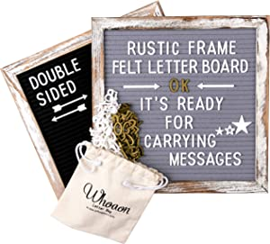 Whitewashed Rustic Wood Frame Double Sided Gray & Black Felt Letter Board 10x10 inch. Precut White & Gold Letters, Script Words, Wood Stand/Wall & Tabletop Board Sign for Farmhouse Home Decor
