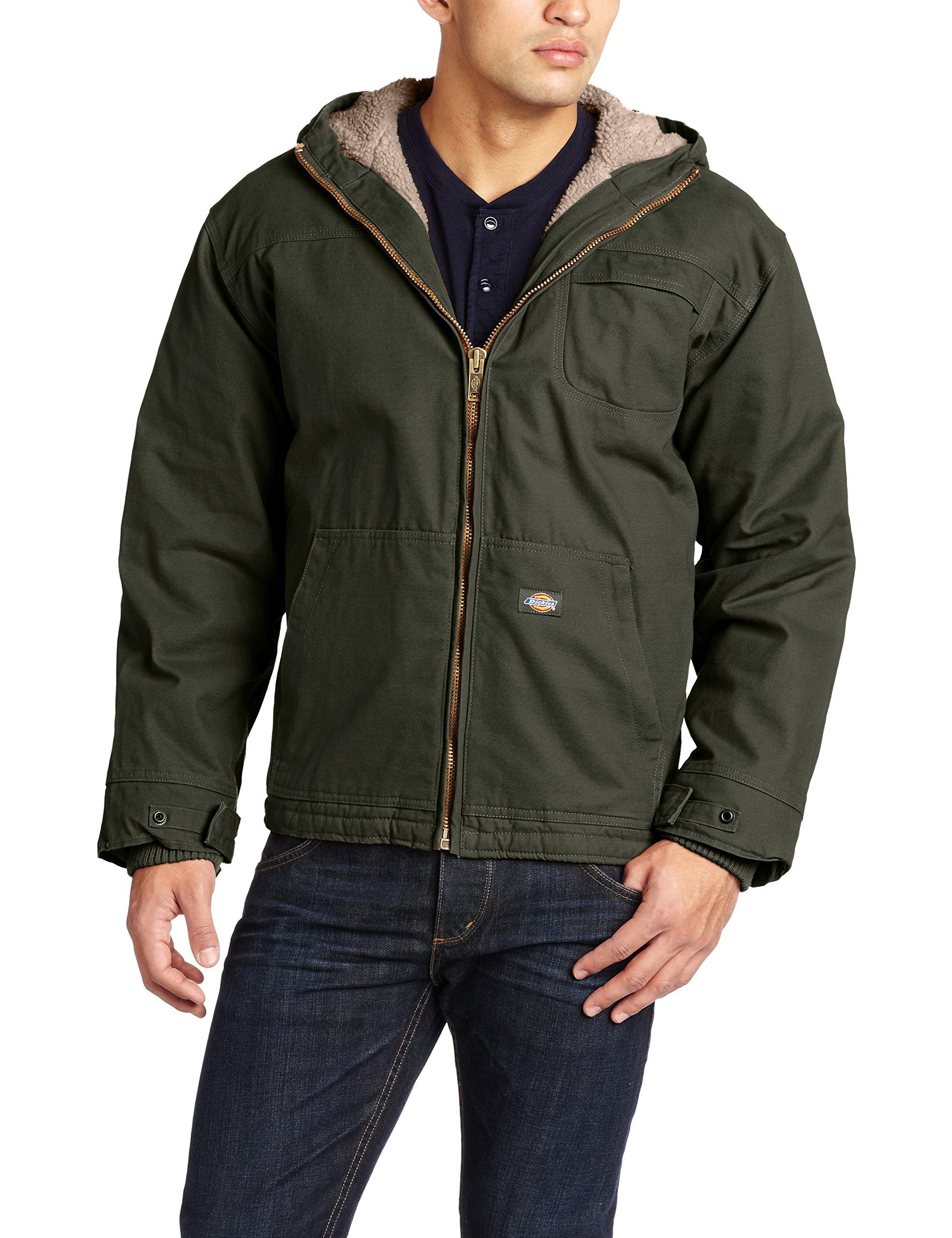 Dickies Men's Sanded Duck Sherpa Lined Hooded Jacket, Black Olive, Large/Regular
