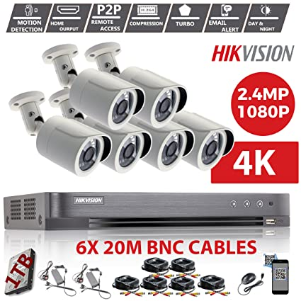 Hikvision CCTV Kit DVR 1080P de 8 canales y 6 x Sony 2,4 MP