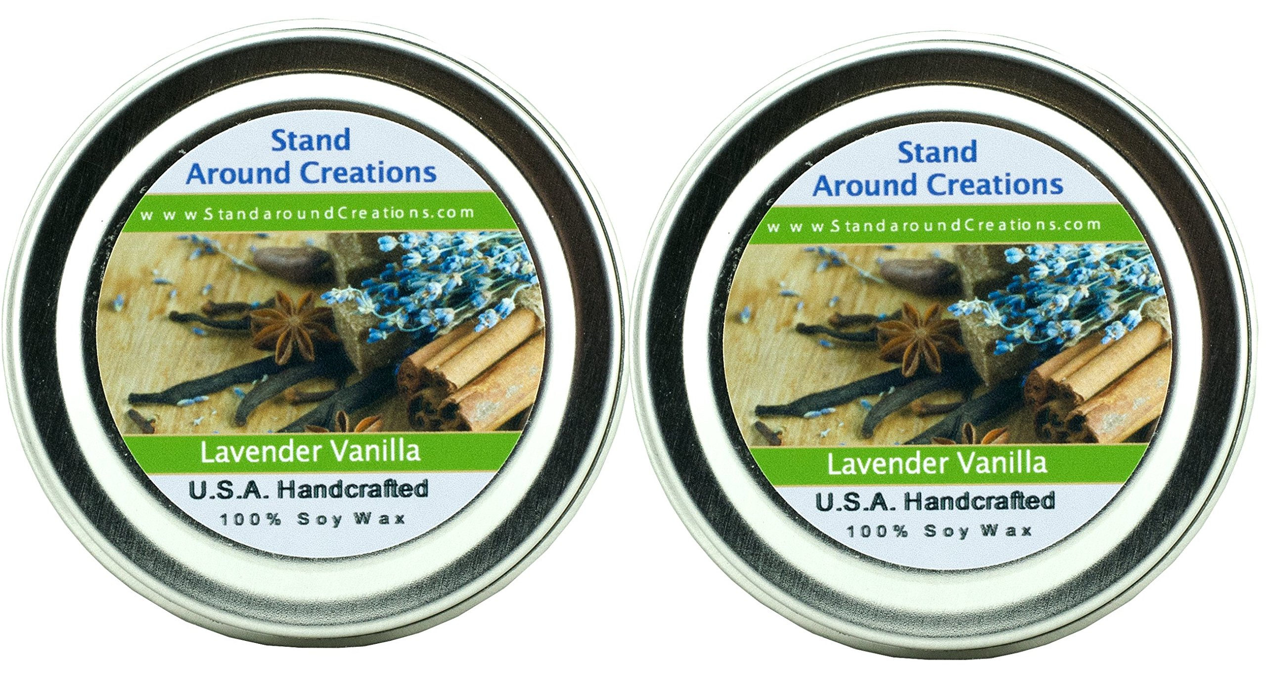 100% Soy Candle - Set of 2 -2 oz.Tins - Lavender Vanilla- Herbal lavender w/ calming vanilla. Made w/ natural essential oils, including Lavender
