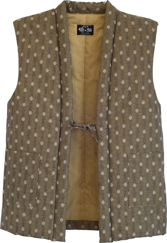 White Polka Dots in Mustard WATANOSATO NoSleeves Hanten (Cotton Jacket Made in Japan KimonoStyle) Asian Size bluee