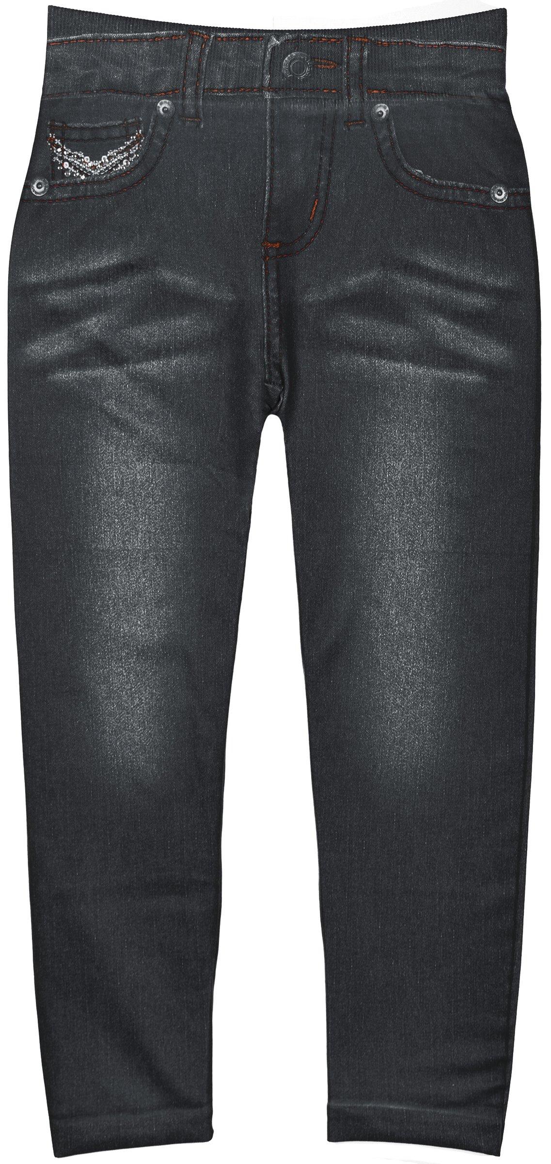Crush Toddler Girls Blue Jean Print Leggings in 7 Fun Styles in Sizes 2T-4T (2T-4T, 22489 Black)