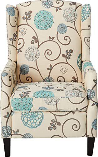Christopher Knight Home Westeros Recliner Chair, White Blue Floral