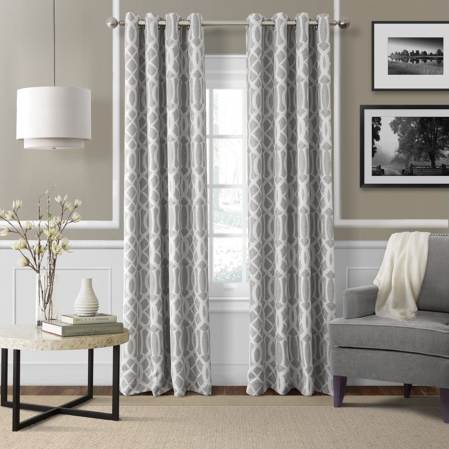 "Elrene Home Fashions Energy Efficient Room Darkening-Rod Pocket Window Panel Harper Gray 52"" x 95"" (1 Panel) 1"