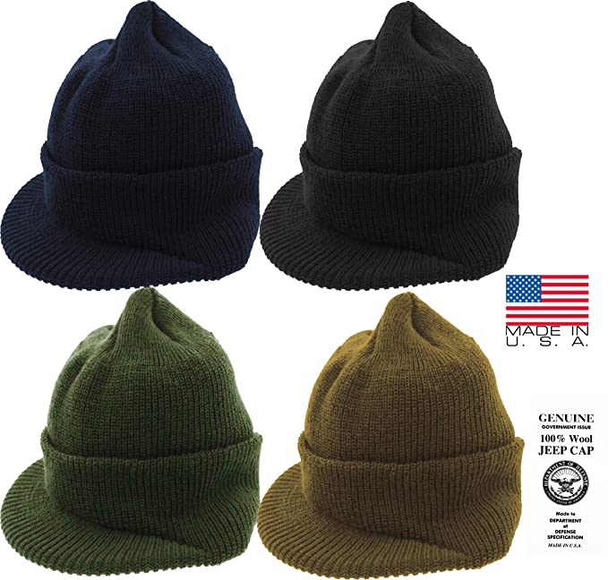 Amazon.com  Genuine GI Official Military Wool Cold Weather Winter Knit Hat  Jeep Watch Cap (Black)  Clothing 55755347f56b