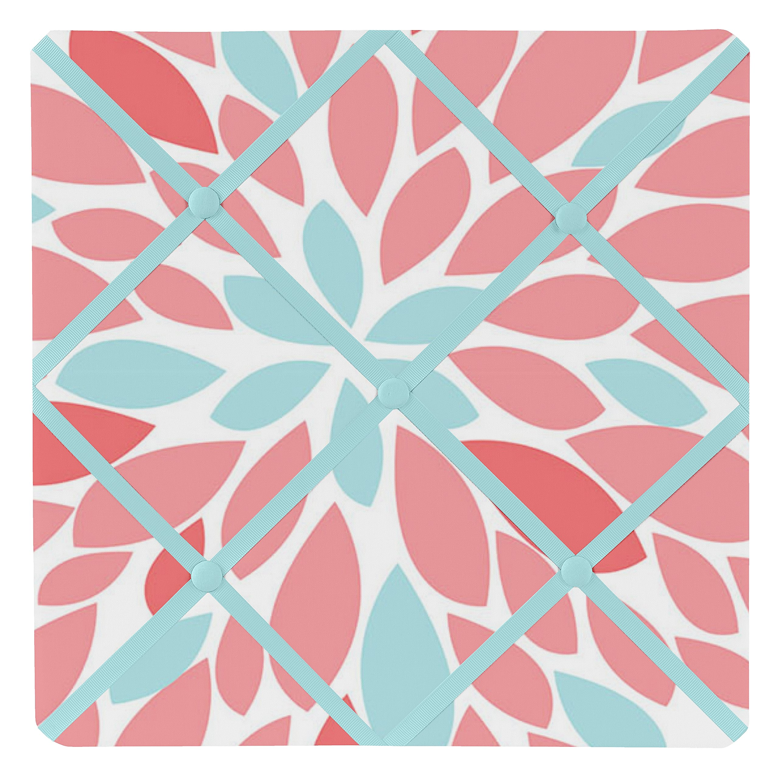 Sweet Jojo Designs Fabric Memory/Memo Photo Bulletin Board for Turquoise and Coral Emma Collection