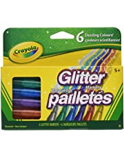 Crayola Canada Glitter Markers, 6-Count, Adult Colouring, Bullet Journaling, School and Craft Supplies, Drawing Gift for Boys and Girls, Kids, Teens Ages 5, 6,7, 8 and Up, Back to school, School supplies, Arts and Crafts,  Gifting