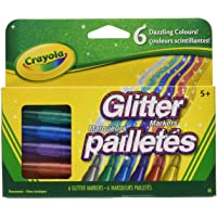 Crayola Canada Glitter Markers, 6-Count, Adult Colouring, Bullet Journaling, School and Craft Supplies, Drawing Gift for Boys and Girls, Kids, Teens Ages  5, 6,7, 8 and Up, Holiday Toys, Stocking Stuffers, Arts and Crafts, Easter Basket Stuffers, Easter Gifting