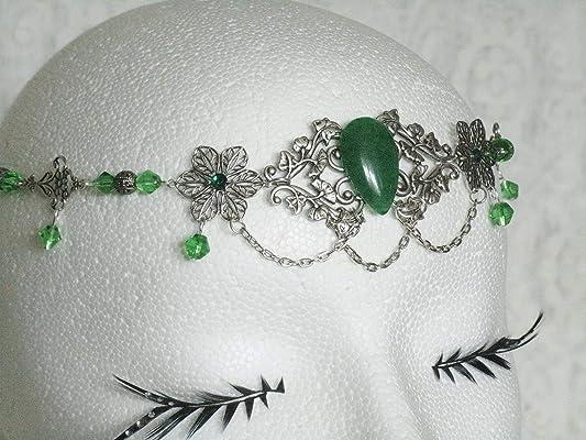 Green Agate Circlet handmade jewelry renaissance medieval victorian edwardian art nouveau art deco tudor elven headpiece fairy celtic