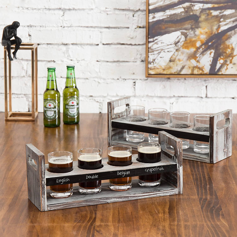 MyGift Set of 2 Torched Wood Beer Flight Serving Caddies with Chalkboard Panels /& 4 Tasting Glasses