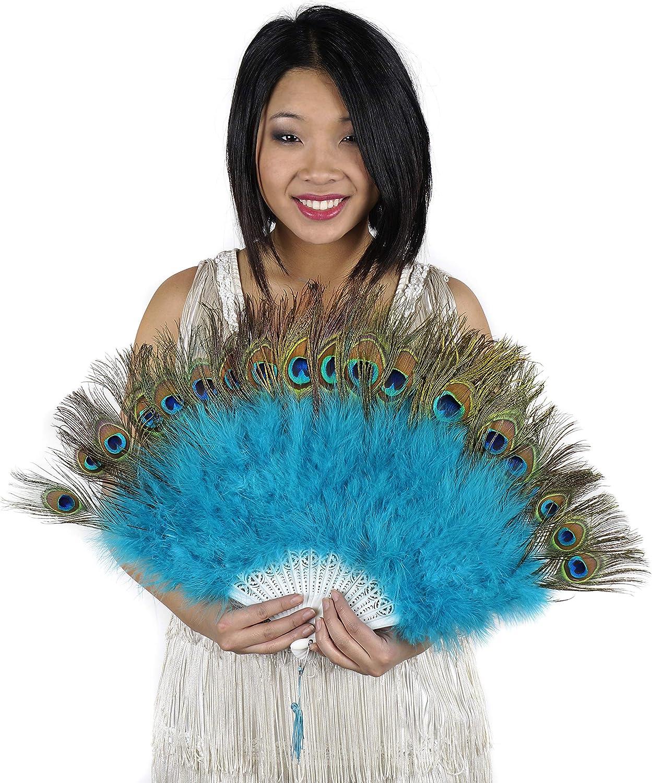 Peacock Eye Feather Hand Fan - Dark Aqua Folding Fan Dance Wedding Home Decor