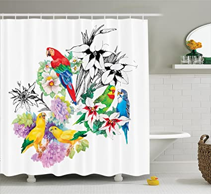 Ambesonne Parrots Decor Shower Curtain Set Observing The World On Top Of A Floral