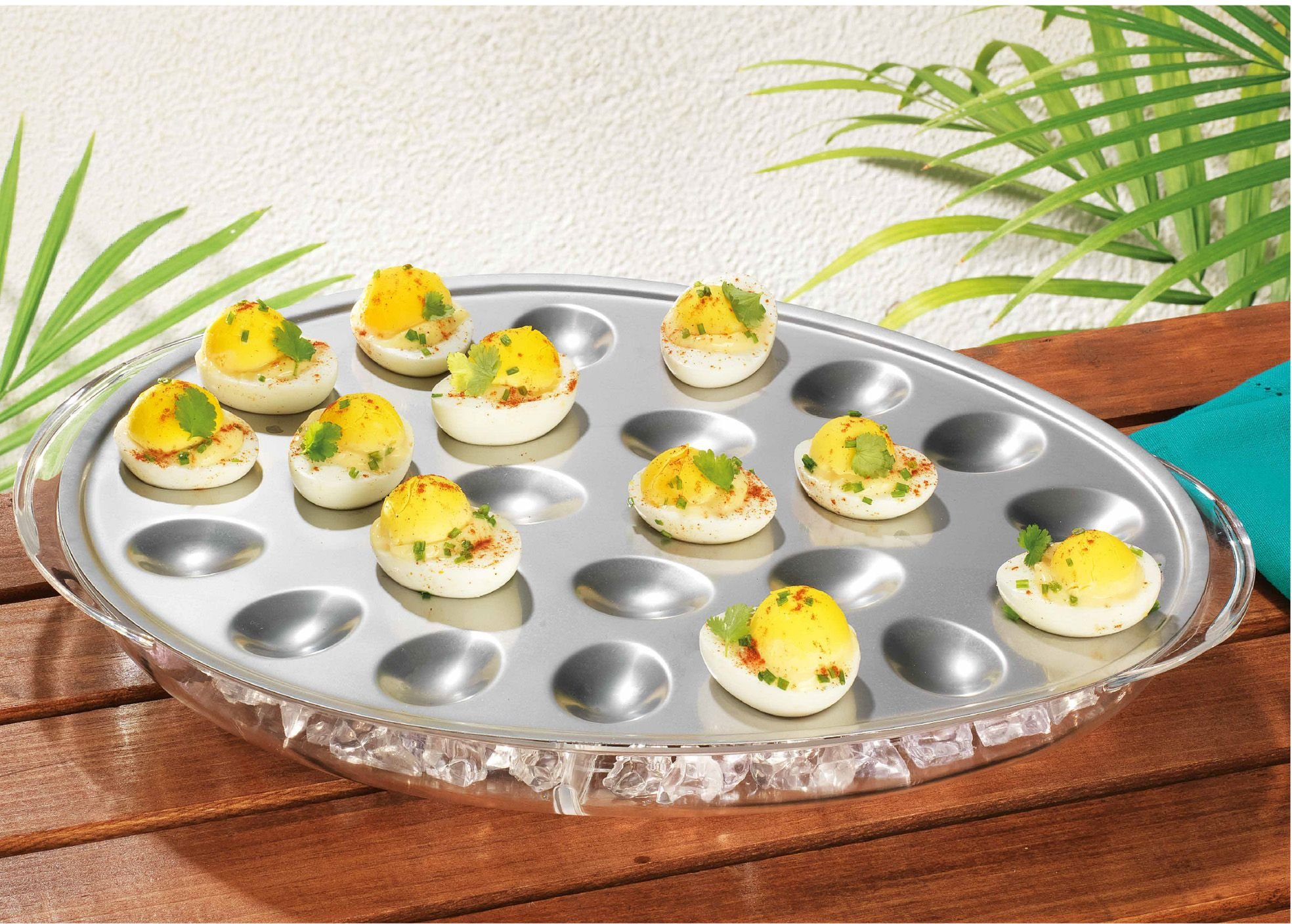 Elegant Home Stainless Egg Platter with Acrylic ice Chiller by E.H (Image #1)
